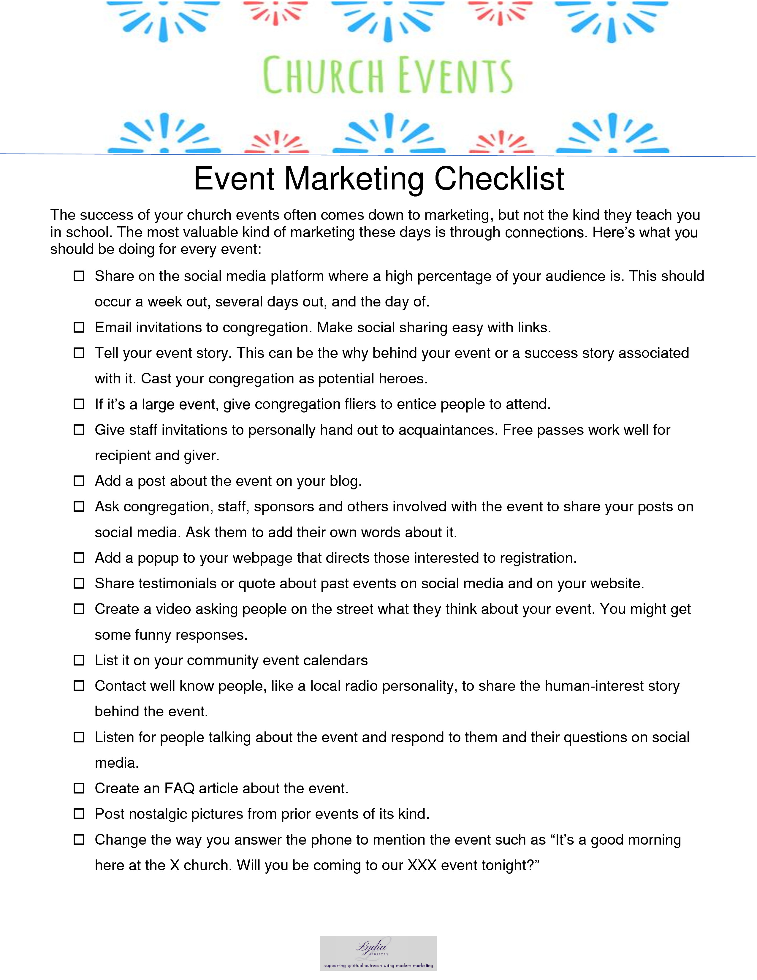 16 ways to market your church event